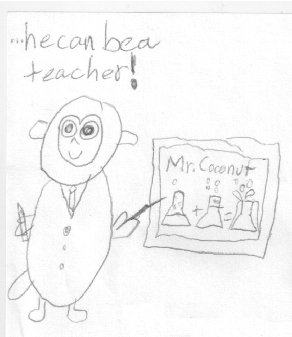Coconut the stuffed monkey as a teacher.